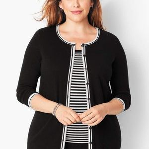 Talbots Tipped Charming Cardigan Sweater